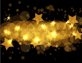 Abstract gold stars on dark vector background — Stock Vector