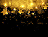Abstract gold stars on dark vector background — Vettoriale Stock