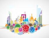 City Landscape real estate vector background — Stock Vector
