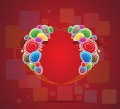 Corazón abstracto de fondo de vector de círculos de color — Vector de stock