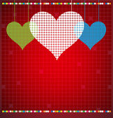 Abstract color pixel heart mosaic vector background — Vetorial Stock