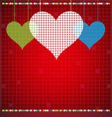 Fondo de vector de color abstracto pixel corazón mosaico — Vector de stock