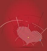Astratto circuito pixel cuore mosaico — Vettoriale Stock