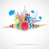 City Landscape real estate vector background label — Stock Vector