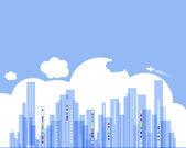 Nieruchomości miasta tło krajobraz z chmury — Wektor stockowy
