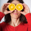 Orange fruit eyes — Stock Photo