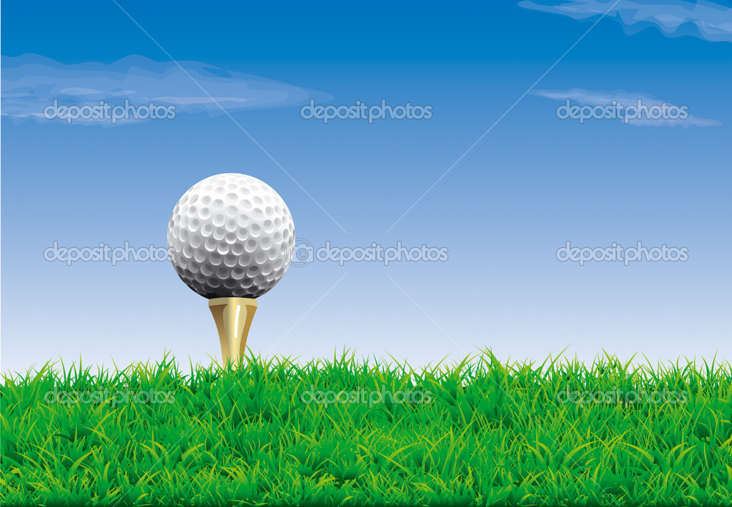 Golf ball on a tee, simple golf background — Stock Vector #11448844
