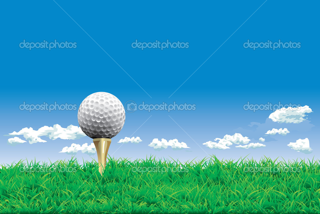 Golf ball on a tee, simple golf background — Stock Vector #11450492