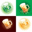 Stock Vector: Four variation of beer tankards of st.Patrick holiday.