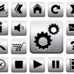 ikona metalu wektor zestaw — Wektor stockowy