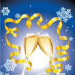 Christmas postcard with two glass of champagne — Stock Vector