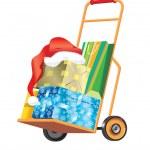 alışveriş sepeti ile Noel hediyeler ve presents. vektör — Stok Vektör