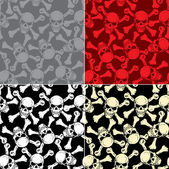 Vector. Evil skull with bones. Warning sign — Stock Vector
