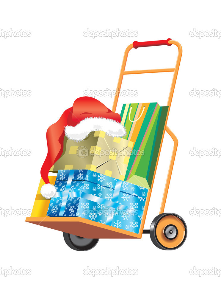 Shopping cart with Christmas gifts and presents. Isolated over white background. — Stock Vector #11518779
