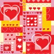 Vector. Seamless background with hearts and cubes. — Stock Vector