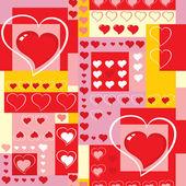 Vektor. sömlös bakgrund med hjärtan och kuber. — Stockvektor