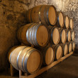 Wine barrels in a wine cellar — Stock Photo
