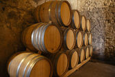 Wine barrels in a wine cellar — Stok fotoğraf