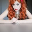 Pretty girl drinking wine — Stock Photo #10956873