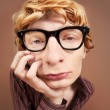 Sad nerdy guy — Stock Photo