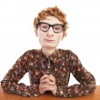 Serious nerdy guy — Stockfoto