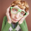 Sad nerdy guy — Stockfoto