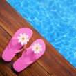 Holiday concept, flip flops a the pool - Foto Stock