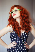 Fashion portrait of red haired girl. — Стоковое фото