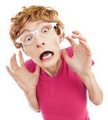 Retrato de chico nerd tensionado — Foto de Stock