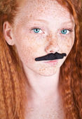 Attractive girl with mustache, similar available in my portfolio — Stock Photo