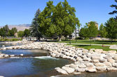 Park and river near downtown Reno, NV. — Stock Photo