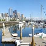 Seattle pier 66 marina and skyline. — Stock Photo