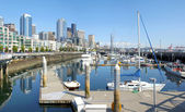 Seattle pier 66 marina and skyline. — Stock Photo