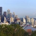 Seattle skyline panorama and Mt. Rainier. — Stock Photo