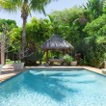 Backyard with swimming pool — Stock Photo #11636570