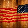 Old Painted AmericFlag on Dark Wooden Fence — Stock Photo #11319697