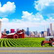 American Country with Blurred Big City in Background - Lizenzfreies Foto