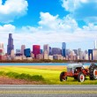 American Country with Blurred Big City in Background - 