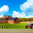 Country Road With Farm And Tractor - 