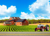 Country Road With Farm And Tractor — Stock Photo