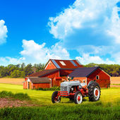 American Country with Blue Cloudy Sky — Stock Photo
