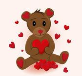 Cute little bear holding red heart. Vector illustration — Stock Vector