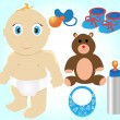 Royalty-Free Stock Obraz wektorowy: Icon Set of Toys and Accessories for Babies, Clip-Art Illustrati