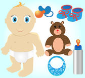 Icon Set of Toys and Accessories for Babies, Clip-Art Illustrati — Stock Vector