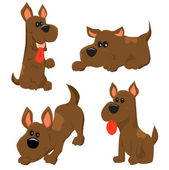 Cartoon illustration of dog icons set — Stok Vektör