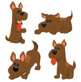 Cartoon illustration of dog icons set — Stock Vector