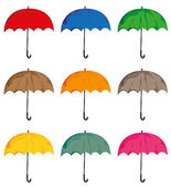 Set of umbrellas. Vector isolated on white background objects. — Stock Vector