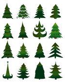 Satz von weihnachten bäume vektor — Stockvektor