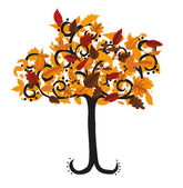 Autumn tree illustration for your design — Stock Vector