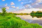 Evening on the Narew river, Poland — Stock Photo